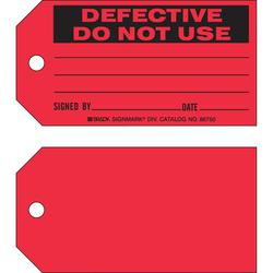 """DEFECTIVE DO NOT USE BY"" RED STATUS TAGS"