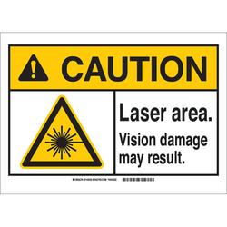 """CAUTION LASER AREA"" BLK/YEL/WHT SIGN"
