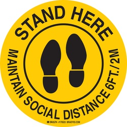 8IN FLOOR SIGN: STAND HERE MAINTAIN