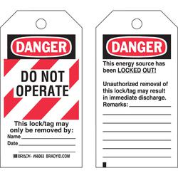 """""""DANGER, DO NOT OPERATE"""" LO/TO TAGS"""